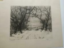 ORIGINAL C Jac Young Signed Etching THE VALLEY BELOW Winter SCENE,11 1/2 X 9 3/4