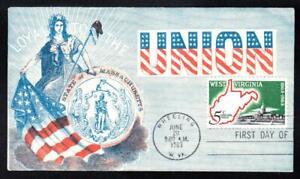 West Virginia Statehood Stamp 1179 FDC Civil War Patriotic Cover (A6150)