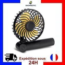 Ventilateur portable pliable Mini de 3 vitesses batterie 1200mAh - Noir et Jaune