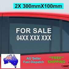 2X FOR SALE Sticker with your Phone No 300mm CAR Window Custom Vinyl Sign  2pcs