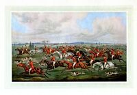 FOXHOUNDS HUNTING ANTIQUE COLOR PRINT FOX HUNTING HORSEBACK SADDLE REINS DOG