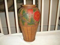 Vintage Pottery Vase W/Floral Painted Designs-Large Vase Looks Like Wood-A MUST