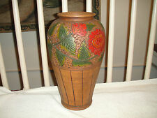 Vintage Pottery Vase W/Floral Painted Designs-Large Vase Looks Like Wood-A MUST