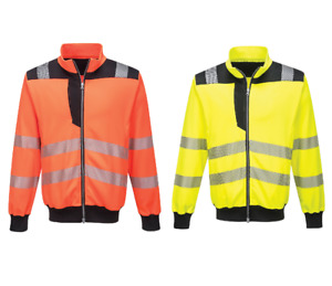 Portwest PW370 PW3 Hi-Vis Sweatshirt Reflective Durable Zipped Safety Workwear