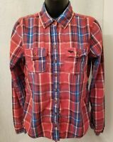 Abercrombie & Fitch Womens Red Blue White Button Down Shirt Top Blouse Size M