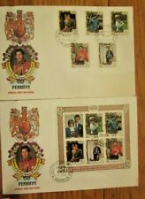 PRINCESS DIANA ROYAL WEDDING 1981 PENRHYN COOK ISLANDS SET SOUVENIR SHEET 2 FDCS