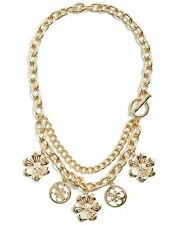 GUESS Hannah Floral Charm Crystal Flower Multi Strands Statement Necklace NWT