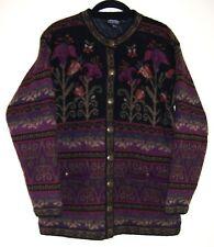 Icelandic Design Vtg Sweater Jacket Needlepoint Floral Pattern Lined S