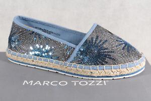 Marco Tozzi Mujer Zapatillas Bailarinas Textil Azul Nuevo