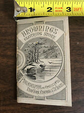 1879 Browning's Clothing Store Pocket Notebook Calendar Advertisement Handout