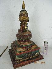 Vecchio stupa Tibet prima 1960 Buddha Bronzo tempio con 75 Rubino & SMERALDO Tara Naga