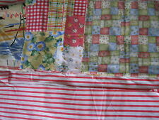 FABRIC LOT Coral Yellow Green blue Flower stripe check heart Quilt patchwork FQ