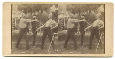 PHOTO STEREO Combat hommes épée sabre ?, c. 1880 - Albumen STEREOVIEW FOTO Sword