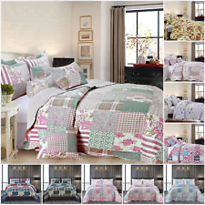 More details for quilted bedspread king size reversible lightweight floral bedding set bed throw