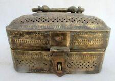 Antique Old Hand Carved Unique Brass Fine Work Jewelry Storage Box Rich Patina