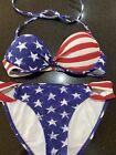 Patriotic Bikini Push up Top &Hipster Bottoms USA Flag 4th July Xhilaration Sz S