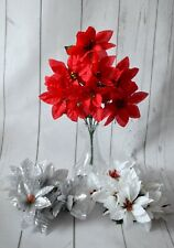 Artificial Red White Gold Silver Poinsettia Flower Bunch x 7 stems Christmas