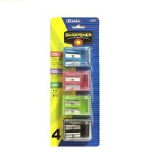 BAZIC DOUBLE BLADES SQUARE SHARPENER 4 COLORS IN A PACK NEW