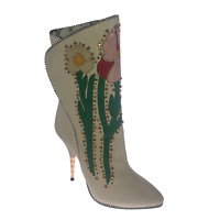 Gucci Crystal Embellished Boots Fosca Studded Leather Boots Size EU 36 / UK 3