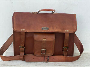"18"" Men's Best Leather Computer Laptop Messenger Handmade Briefcase Bag Satchel"