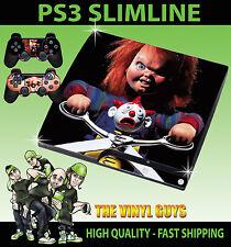 PLAYSTATION PS3 SLIM Pegatina Childs Play Chucky Muñeco de terror de la piel y el cojín de piel 2