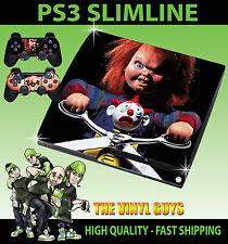 PLAYSTATION PS3 SLIM STICKER CHILDS PLAY CHUCKY HORROR DOLL SKIN & 2 PAD SKIN