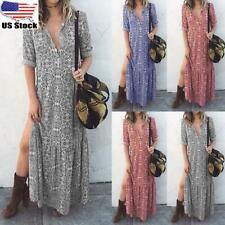New listing Women Roll Sleeves Boho Floral Long Dress Ladies Holiday Summer Beach Maxi Dress
