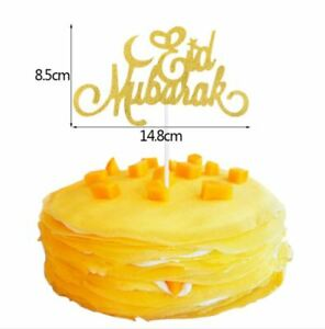 Eid Mubarak Cake Topper Gold Glitter Decoration