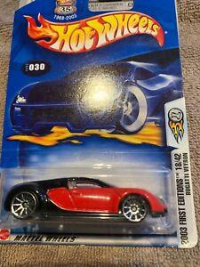 2003 Hotwheels #30 First Editions 18/42 Bugatti Veyron Red &Black