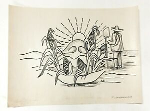 Original 1948 Raul Anguiano Signed Ink Drawing Symbolic Maize Important Mexico