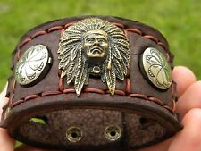 Bracelet Leather cuff Navajo Native Indian Vintage Sterling Silvers Brass Chief