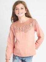 GAP KIDS Girls Size Small Tee Shirt Lace Yoke Keyhole Long Floral Passion Rose