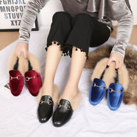 Womens Slippers PU Leather Horsebit Loafers Slip On Fur Lined Shoes Slides Mules