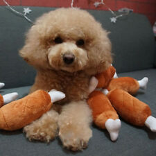 Pet Dog Chew Toys Chicken Leg Bone Shaped Squeaker Squeaky Sound Stuffed Toy