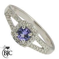 BJC 9 ct Oro blanco Tanzanita Y Diamante tamaño N AlmohadóN anillo R65