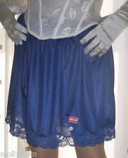 BLU SETA NYLON & Pizzo Sottoveste ~ Sottogonna Mini mezzo SLIP ~ lingerie
