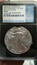 "2016 W BURNISHED SILVER EAGLE NGC MS70 FIRST DAY OF ISSUE FDOI RETRO ""LAST ONE"""