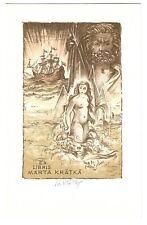 BOHUMIL KRATKY: Exlibris für Marta Kratky; weiblicher Akt, Schiff Poseidon