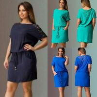Women's Summer Dress Casual Party Evening Plus Size Short Mini Dresses S~5XL New