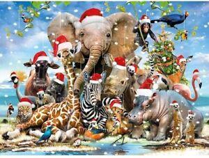 "Traditional  Advent Calendar Christmas Hats Zoo 12"" x 9"""