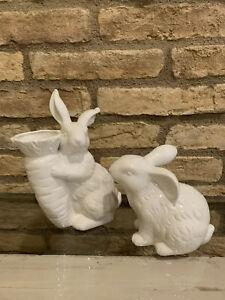 Pottery Barn Garden Bunny Ceramic  Medium And Small Easter Rabbit Decor New