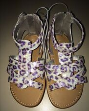 Pretty Little Girls Gladiator Sandals Cherokee Size 7 Silver/Purple Animal Print
