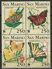 SAN MARINO 1993 WWF, farfalle 4v MNH**
