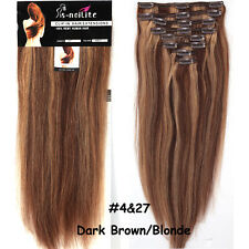 Thick Wefted Full Head Clip In Real Remy Human Hair Extensions 10 12 14 16 F246