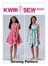 Kwik Sew K4167 PATTERN - Girls Dresses & Sash - BN - Sizes 7-14