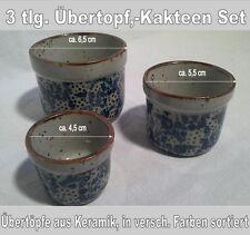 Set 3 Stück, Übertopf, Kakteentopf aus Keramik, in versch. Farben sortiert, Nr.4