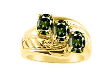 3 Stone  Oval Shape Green Sapphire Ring Set In 14K Yellow Gold - Color Stone Bi