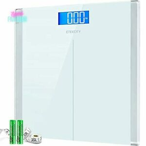 Digital Body Weight Bathroom Scale with Step-On Technology Tempered Glass White