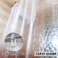 Shower Curtain Liner 72x72 Bathroom Liner Curtain Liner & 12 Plastic Hooks Clear