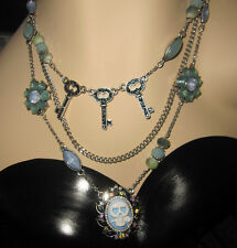 BETSEY JOHNSON LADY LOCK SKULLS AND LOCKS AND BLING TRIPLE  NECKLACE
